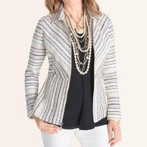 Chico's Striped Tweed Jacket White Navy Sz M